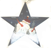 "21"" Tin Barn Star w/Snowman"