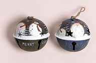 "5.5"" Handpainted Tin Jingle Bell Ornament"