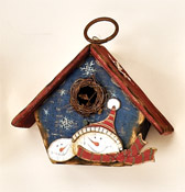"5.5"" Hanging Wood Snowman Birdhouse"