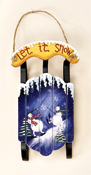 "7"" Wood Sled with Snowmen"