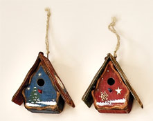 "3"" Painted Wood Birdhouse Ornament"