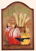 "23"" Fall Welcome Wood Plaque With Crow"