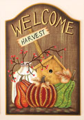 "23"" Fall Welcome Wood Plaque With Harvest"