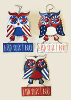 "10"" Hanging Metal Patriotic Owl with Sign"