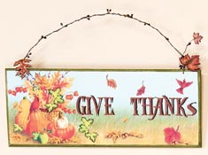 "18"" Wood Give Thanks Sign"