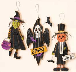 "16"" Hanging Wood Halloween Figures"