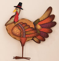 "17.5"" Standing Wood & Tin Turkey"