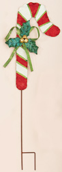 "36"" Metal Candy Cane On Stake"