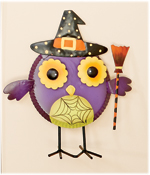 "8.5"" Standing Metal Owl with Broom"