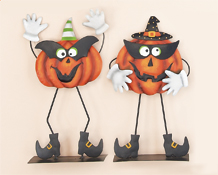 "15"" Standing Metal Pumpkin w/ Mask and Hands"
