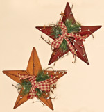 "12"" Metal Star With Gingham Bow, Berries & Pine"