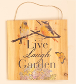 "12"" Hanging Wood Garden Sign with Birds"