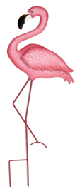 "27"" Pink Flamingo on Stake"
