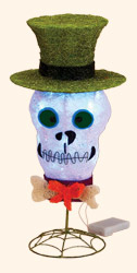 "19"" Outdoor Sisal Lighted Skull"