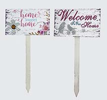 "30"" WELCOME & HOME SWEET HOME GARDEN STAKES, 2 ASST"