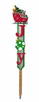 "39"" WOOD/TIN JOY CHRISTMAS STAKE"
