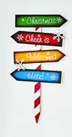 "28"" WOOD CHRISTMAS DIRECTIONS STAKE"