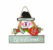 "14"" HANGING WOOD/TIN SCARECROW SIGN"