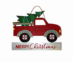 "13"" WOOD TIN PICK UP TRUCK W/TREE"