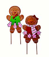 "27"" METAL GINGERBREAD MAN STICK, 2 ASST"