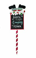 "36"" WOOD SANTA COMING TO TOWN STAKE"