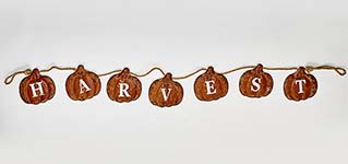 "73"" METAL PUMPKIN HARVEST BANNER ON ROPE"