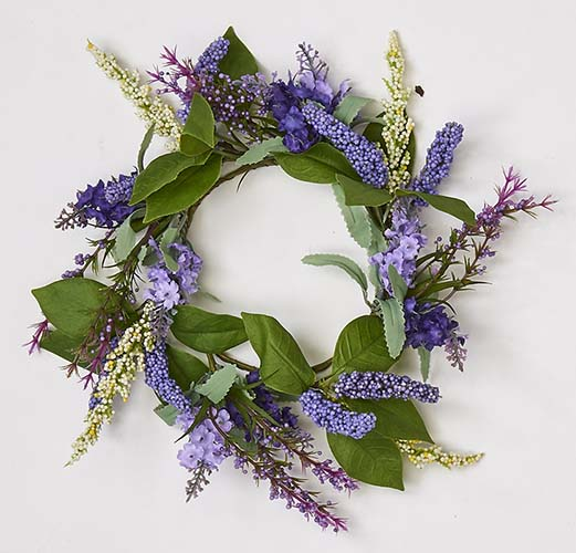 "4.5"" LAVENDER CANDLE RING W/LEAVES"