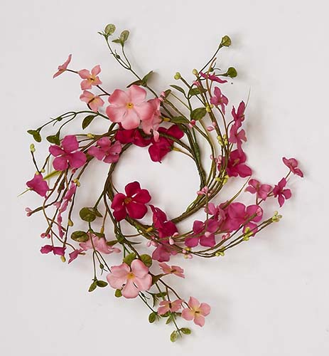 """3.5"""" PINK FLOWER W/ LEAF CANDLE RING"""