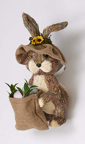 "13"" STANDING RABBIT BASKET OF EGGS & HAT"