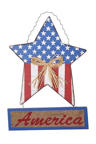 "18"" HANGING WOOD AMERICANA STAR w/AMERICA"