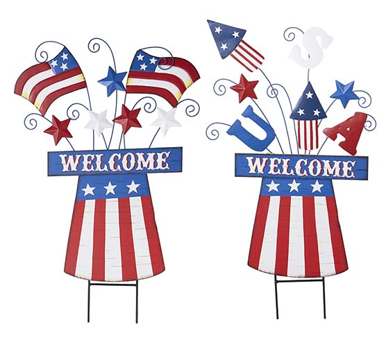 "31"" WOOD/METAL AMERICANA STAKE FLAG & FIREWORKS 2 ASST"