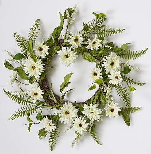 "22"" WHITE DAISY WREATH ON NATURAL TWIG BASE"