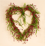 "17"" Red Mini Berry Heart with Leaves Wreath"