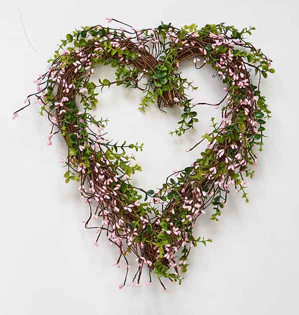 "17"" Pink Mini Berry Heart with Leaves Wreath"