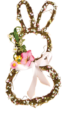 "16"" Multicolor Flowers on Twig Bunny"