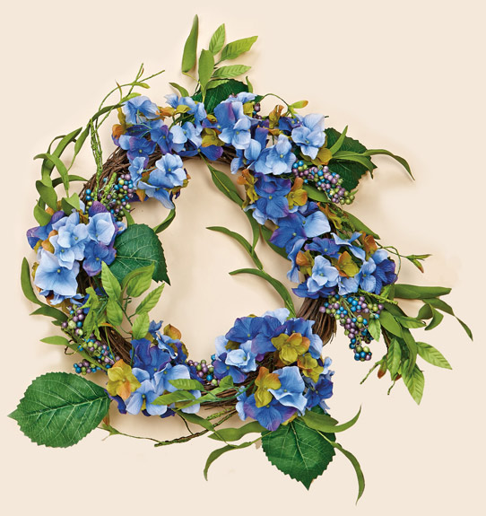 "18"" Blue Hydrangea Wreath on Natural Twig Base"
