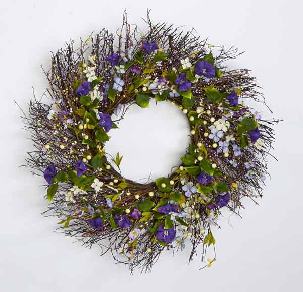 "24"" Wild Flower Wreath w/ Twig & Berry"