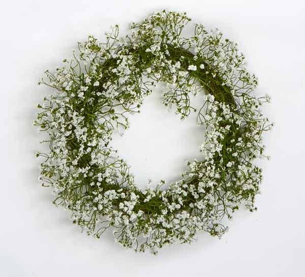 """20"""" Gypsophilia Wreath on Natural Twig Base"""