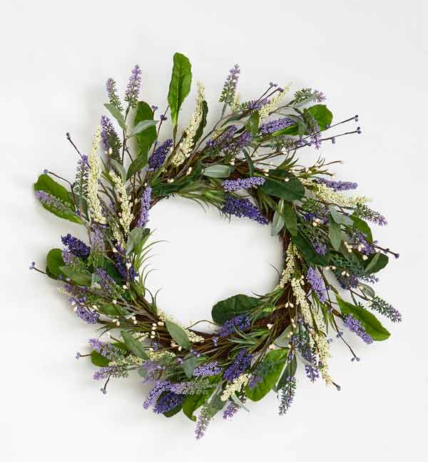 "20"" Lavendar Wreath With Leaves On Twig Base"