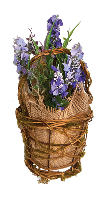 """7.5"""" Lavender in Burlap & Twig Basket with Grass"""