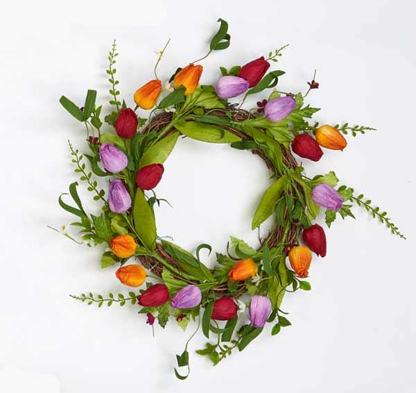 """19"""" Tulip, Leaf & Twig Wreath"""