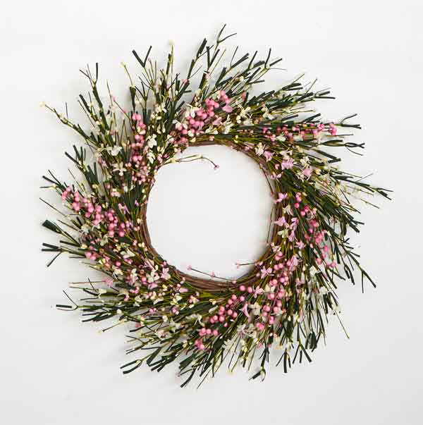 "20"" Small Flower & Berry Twig Wreath"