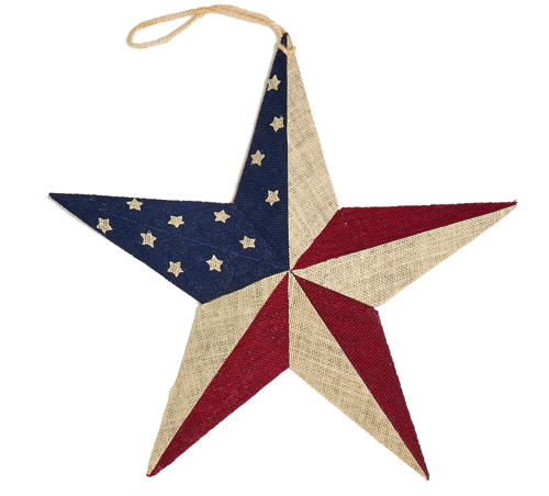 "18"" Red/White/Blue Burlap Star"