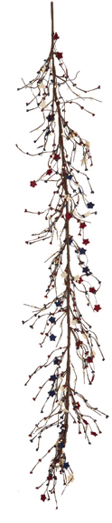 5' Mini Berry Garland w/ Red/White/Blue Burlap Stars