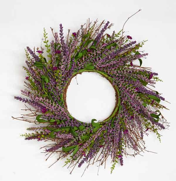 """22"""" Lavender & Small Flower Twig Wreath"""