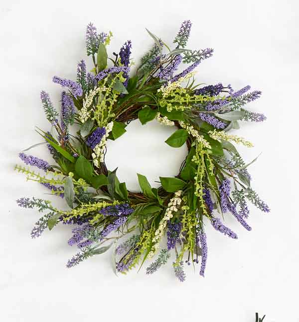 "14"" Lavender Wreath with Leaves on Twig Base"