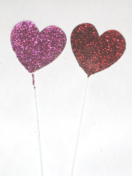 "3"" Glitter Heart on 12"" Pick - CLOSE OUT"