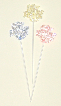 "8.5"" Happy Birthday Flat Plastic Pick - SPECIAL PRICE"