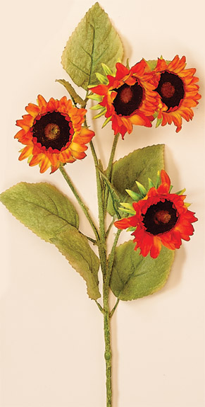 "35"" Sunflower Spray X 4 With 3.5"" Head (Across)"