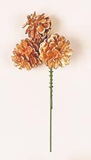 """1.75"""" Gold Pine Cone Pick x 3"""